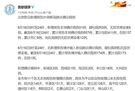 北京16日新增报告31例确诊病例 无症状感染者6例